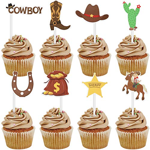 BESTOYARD cowboy cupcake topper cartoon papier kuchen picks cowboy thema kuchen dekoration zahnstocher für kinder geburtstag baby shower party supplies 72 stücke