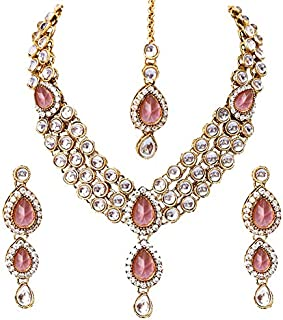 d133ea8045 Shining Diva Fashion Gold Plated Pink Kundan Traditional Necklace Jewellery  Set for Women & Girls(