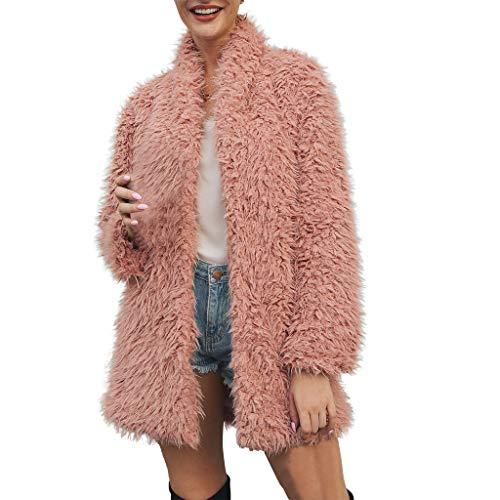 Lulupi Damen Felljacke Winter Fleecejacke Cardigan Jacke, Pelzmantel Warm Lange Ärmel Faux Fur Winterjacke Kunstfell Pelzjacke Mantel Coat