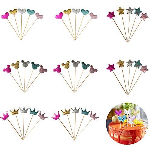 40 adornos coloridos para tartas de cumpleaños, estrellas, corazón, Mickey Mouse, decoración multicolor con purpurina, para cumpleaños, aniversario, boda, 40 unidades