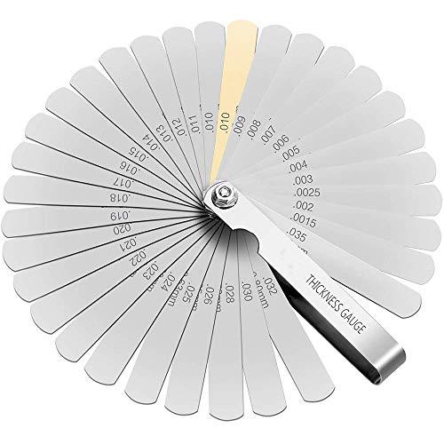 JOMAFA - Juego de galgas de 32 laminas para medir espesor en milimetros y pulgadas para medicion calibre. Galgas para taller