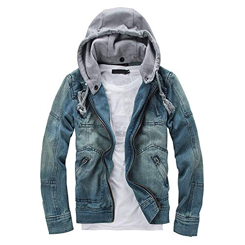 NEARTIME Mens Denim Jacket, 2020 Fashion Men's Autumn/Winter Slim Long Sleeve Detachable Hoodie Coat Blouse