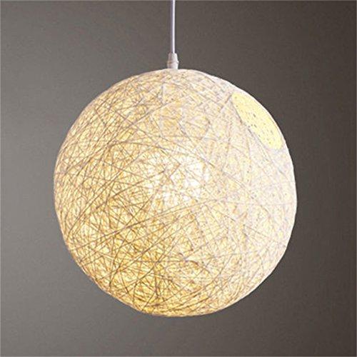 Alician - visualización para lámpara de techo (ratán trenzado a mano, 15 cm de diámetro), Blanco