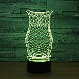 Solo 1 pieza Owl Animal 3D Lámpara Noche USB Iluminación LED Mulitcolor Niños Juguete Decorativo n Lámpara