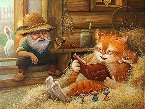 ZMGYA Puzzle Infantil, 1000 Piezas,Knowledgeable cat-3000Edad Recomendada 8+ Educativo El Alivio del Estrés Juguete Relajante Juego Divertido