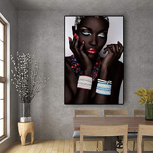 GJQFJBS Moda Labbra Rosse Donna Sexy Fumo Tela Pittura Poster tipografici e Stampe Soggiorno Murale (Senza Cornice) A5 70x100 cm