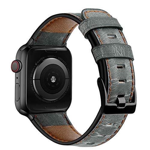 AISPORTS Compatible con Apple Watch Correa 44mm 42mm Cuero para Mujeres y Hombres, Vintage Correa de Repuesto de Pulsera con Hebilla Clásica de Metal para Apple Watch SE/iWatch Series 6/5/4/3/2/1