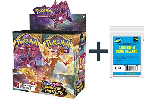 Pokemon Flammende Finsternis Display (36 Booster) | DEUTSCH | PKM Karten NEU GÜNSTIG | + Arkero-G 100 Standard Soft Sleeves Kartenhüllen