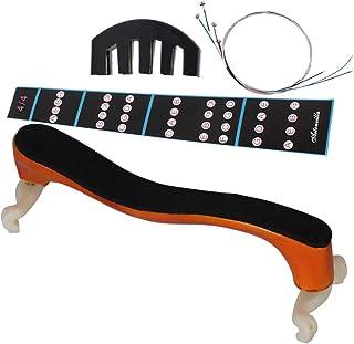 Healifty 4pcs accesorios para violín set 4/4 soporte para reposabrazos silencioso diapasón pegatinas cuerdas para piezas de instrumentos musicales
