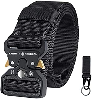 """Fairwin Tactical Belt for Men, Military Style 1.5"""" Nylon Web Belt with Heavy-Duty Quick-Release Metal Buckle"""