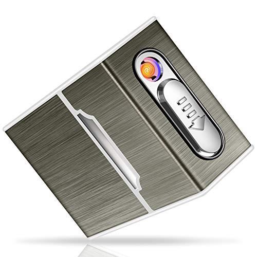 Yosemy Zigarettenetui mit Feuerzeug Zigarettenbox Elektronisches Integriertem Flammenlose Feuerzeug Aufladbar Zigarettenschachtel Schwarz