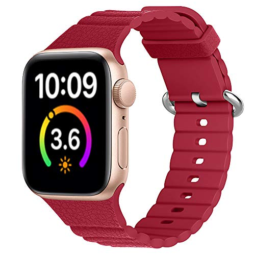 Correa de silicona compatible con Apple Watch Serie SE/6/5/4/3 bandas deportivas para Iwatch pulsera 38 mm 40 mm 42 mm 44 mm DE81025 (42 mm 44 mm, 5)