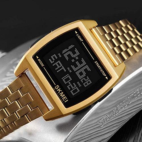 JSL Rectangulares hombres s correa de acero reloj de los hombres de negocios s reloj electrónico multifunción hombres s reloj de oro
