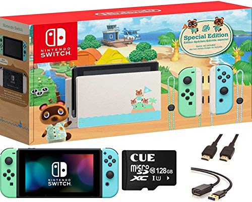 Newest Nintendo Switch with Neon Blue and Neon Red Joy-Con, Animal Crossing: New Horizons Edition 6.2