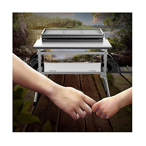 Barbecue Racks Masonry Barbecue Outdoor Stainless Steel Barbecue Barbecue Stove For 5-10 People Multifunctional Household Barbecue Grill Small Size After Storage ( Color : Silver , Size : 86*62*54cm )