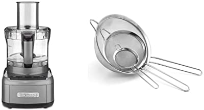 Cuisinart FP-8GMP1 Elemental 8-Cup Food Processor, Gunmetal & CTG-00-3MS Set of 3 Fine Mesh Stainless Steel Strainers