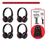 SIMOLIO 4 Pack of Vehicle IR Headphones, Wireless Car Headphones Durable and Flexible for Kids, Wireless Infrared Headphones with AUX Cable, 2 Channel DVD Headphone Not Work on 2017+ GM's or Pacifica