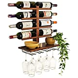 Wine Rack Wall Mounted with Shelf for 8 Wine Bottles & Glasses - Wood Rustic...