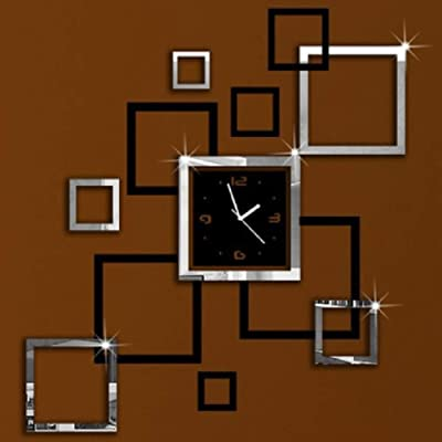 Clock Mirror Sticker, Modern DIY Square Modern Design Frameless Wall Sticker Clock for Home Office