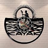 xcvbxcvb Tiempo de Kayak Reloj Colgante de Kayak Jugando en el Agua Disco de Vinilo de Cuarzo silencioso Reloj de Pared Mural a la Deriva Regalo Deportivo para kayakistas