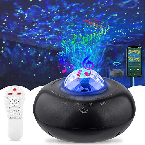 LED Sternenhimmel Projektor, AsperX Sternenhimmel Lampe, Rotierende Wasserwellen Projektionslampe mit Fernbedienung/Bluetooth 5.0 für Party Weihnachten Ostern Halloween