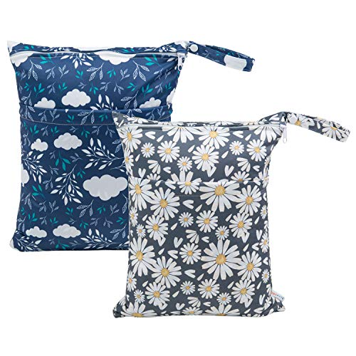 ALVABABY 2pcs Cloth Diaper Wet Dry Bags Waterproof Reusable with Two Zippered Pockets Travel Beach Pool Daycare Soiled Baby Items Yoga Gym Bag for Swimsuits or Wet Clothes L12208