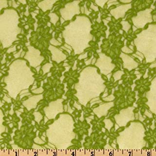 Giselle Stretch Floral Lace Avocado Fabric