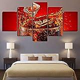 GSDFSD Composición de 5 Cuadros de Madera para Pared - Copa de Coca-Cola Ice Glass Splashe - Cuadros Dormitorios Modernos - Listo para Colgar - 100 * 50 cm