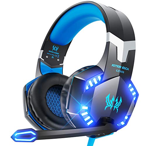 VersionTECH. G2000 Gaming Headset for PS5, PS4, PC, Xbox One, Surround Sound Over Ear Headphones with Mic, LED Light for Mac Laptop Switch PlayStation