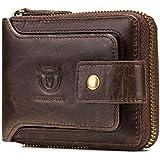 Men's Genuine Leather Wallet,RFID Blocking Zip Around Bifold Multi Purse Cowhide Leather Vintage Secure Card Holder with ID Window (Brown)