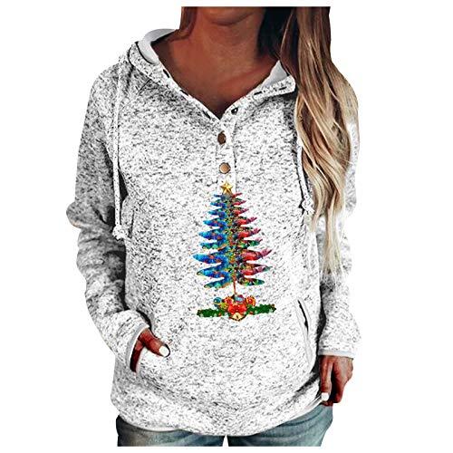 YunYoud Damen Pullover Oversize, Strickpullover V Ausschnitt, Frauen Revers Kapuze Sweatshirt Pullover Taschen Kordelzug Tops