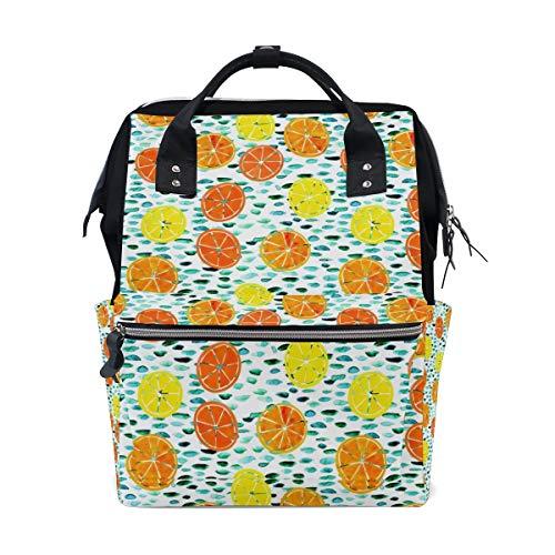 FANTAZIO Mummy Bag Backpack Citrus Lily Pads Pattern School Bag