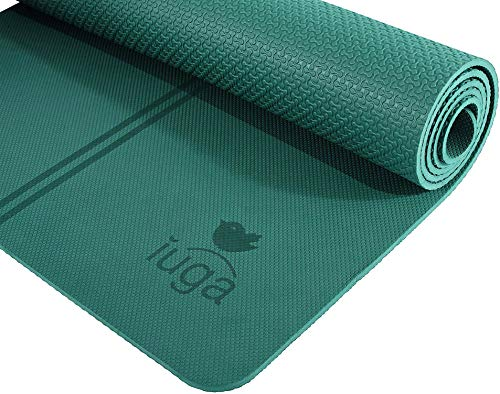 "IUGA Eco Friendly Yoga Mat with Alignment Lines, Free Carry Strap, Non Slip TPE Yoga Mat for All Types of Yoga, Extra Large Exercise and Fitness Mat Size 72""X26""X1/4'"