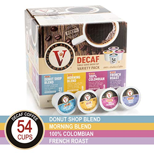 Decaf Donut Shop, Morning Blend, 100% Colombian, and French Roast Variety Pack for K-Cup Keurig 2.0 Brewers, 54 Count, Victor Allen's Coffee Medium Roast Single Serve Coffee Pods