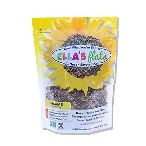 ELLA'S FLATS™ All Seed Savory Crisps – ORIGINAL SESAME (NetWt 6oz Resealable Bag) – 3 PACK – Gluten Free, Sugar Free, Grain Free, High Fiber, Low Carb, Vegan, Keto, Paleo