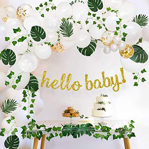 Sweet Baby Co. Boho Fake Greenery Baby Shower Decorations Neutral with Balloon Garland Arch Kit, Oh Hello Baby Banner, Green Ivy Leaf Garland Vines Decoration Decor for Jungle Safari Woodland Backdrop Theme