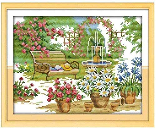 XYXYNNB Stamped Cross Stitch Kits Adults Beginners Garden Chair Many Flowers 11CT Embroidery (16x20 inch) Pre-Printed Cross Stiching Supplies DIY Needlepoint Handicraft Crochet Gift