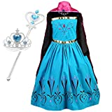 Vogue Elsa Coronation Dress Costume Tiara and Magic Wand Set (Blue with Accessories, 3-4 Years (110))