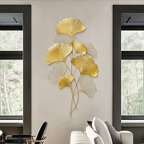 Wanddekoration Ginkgo 3D Wandbild aus Metall, Wanddeko Blätter, Wandverzierung, Hintergrund Wand Wohnzimmer Dekoration, Gold 110x55 cm