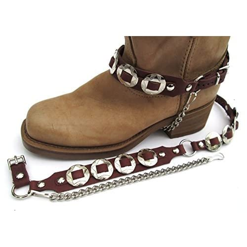 "8 CONCHOS WESTERN BOOTS BOOT CHAINS /""The Concho Honcho/"" BROWN TOPGRAIN LEATHER"