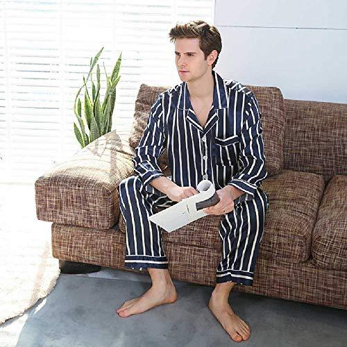 HONGSHU Conjuntos De Pijamas De Seda Manchados para Hombre Pijamas Ropa De Dormir para Hombres Camisón De Seda De Estilo Moderno Inicio Hombre Satén Suave Y Acogedor Dormir XXXL/Gris