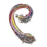 QH-Shop 100 PCS 1.5mm Geflochtene Gewachste Halskette Schnur Bulk mit Verlängerungskette Seil und...