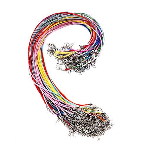 QH-Shop 100 PCS 1.5mm Geflochtene Gewachste Halskette Schnur Bulk mit Verlängerungskette Seil und Hummer Schließe für DIY Schmucksachen Making, 20 Verschiedene Farben