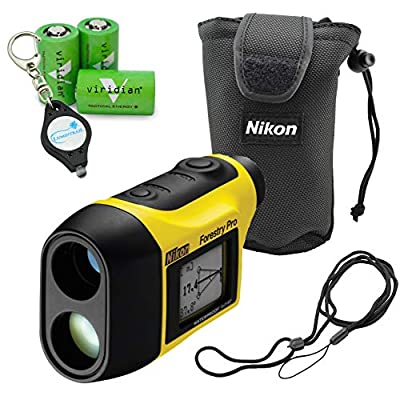 Nikon Forestry Pro Laser Rangefinder Hypsometer Waterproof Construction Precision Measurements Bundle with 3 Extra Viridian CR2 Batteries and a Lumintrail Keychain Light by Nikon