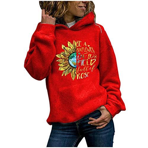 Sonnenblumen Pullover Damen Hoodie Sonnenblumenmuster Sweatshirt Langarmpullover T-Shirt Streetwear Casual Sweatshirt Tops Oberteil Lange Ärmel Beiläufig Weihnachten