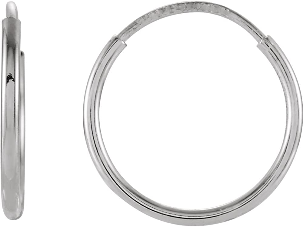 FB Jewels 14k White Gold 12 mm Pair Polished Endless Hoop Earrings