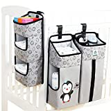 Hanging Diaper Organizer for Crib, Diaper Stacker and Crib Organizer | Hanging Diaper Organization Storage for Baby Essentials | 3-in-1 Nursery Organizer and Baby Diaper Caddy