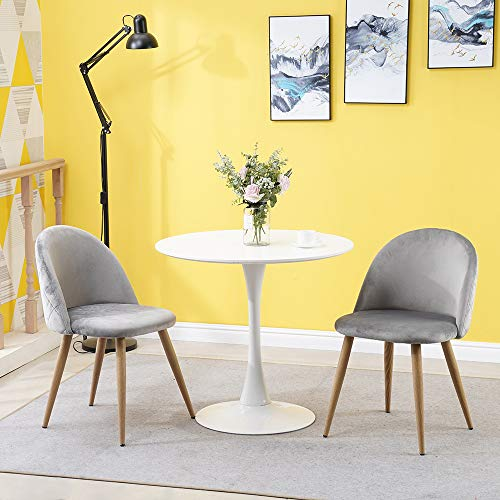 OFCASA – Conjunto de 2 sillas de comedor de terciopelo, sillas grises, suaves con patas de metal, efecto madera, color rosa y verde para el comedor, cocina o dormitorio