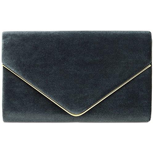 Caspar TA375 Damen elegante Samt Clutch Tasche Abendtasche mit langer Kette, Farbe:dunkelgrau, Größe:One Size