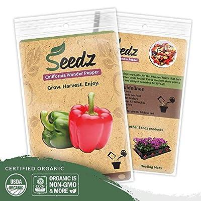 CERTIFIED ORGANIC SEEDS - Red & Green Bell Pepper Seeds - Pepper Heirloom Seeds - Non GMO, Non Hybrid - USA